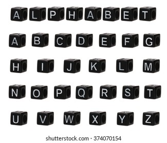 alphabet of black cubes