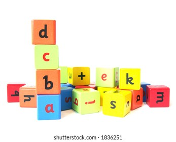 Alphabet blocks made of wood used to teach children