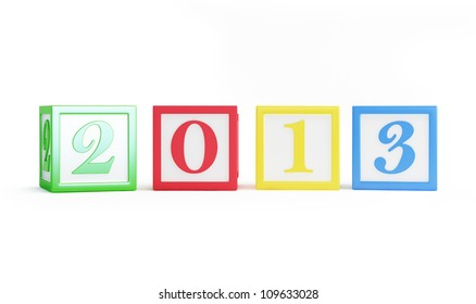 alphabet box 2013 new year's isolated on a white background