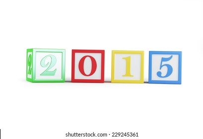alphabet box 2015 new year's isolated on a white background