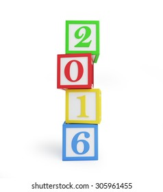 alphabet box 2016 new year's isolated on a white background