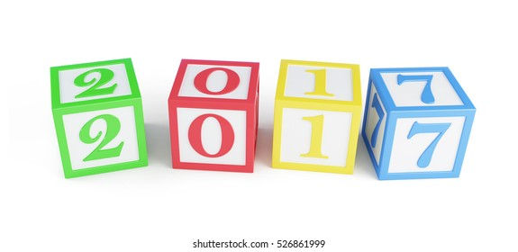 alphabet box 2017 new year's. 3d Illustrations on a white background