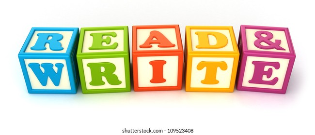 Alphabet building blocks that spelling the word read and write