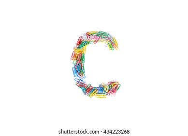 Alphabet C made from Color paper clips