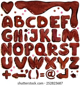 Alphabet. Chocolate biscuit sweet letter. watercolor