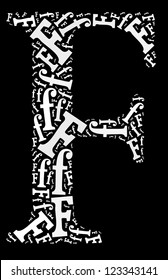 alphabet cloud/collage with alphabet shape