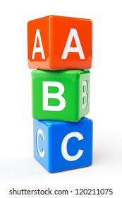 Alphabet Concept. ABC cubes on a white background