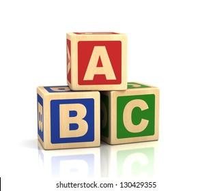alphabet concept -  ABC cubes on a white background