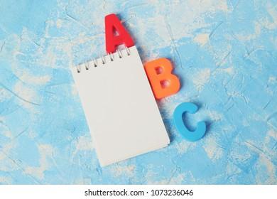 alphabet. copy space for text.autism concept