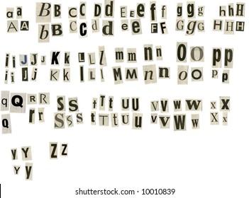 alphabet cut from newspaper