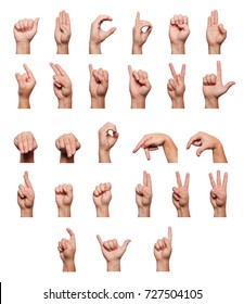 The alphabet is deaf-haired represented by a man's hands on a white background