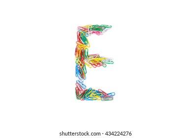 Alphabet E made from Color paper clips