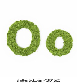 alphabet font with green grass texture background isolated
