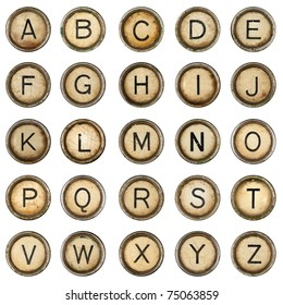 Alphabet, grunge typewriter keys in white background