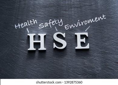 alphabet HSE health safety enviroment on the black slate