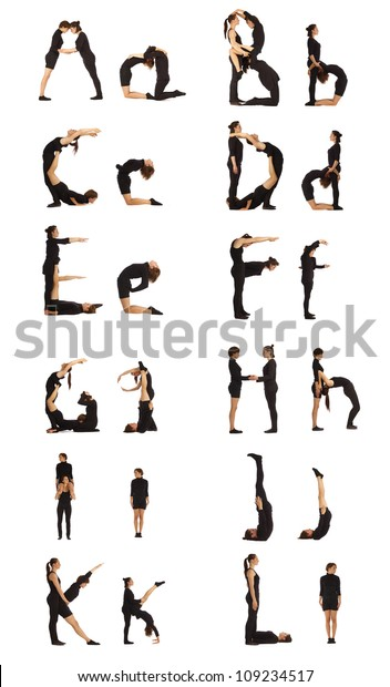 The Alphabet from A to L formed by humans