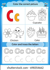 Alphabet learning letters & coloring graphics printable worksheet for preschool / kindergarten kids. Letter C