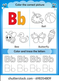 Alphabet learning letters & coloring graphics printable worksheet for preschool / kindergarten kids. Letter B