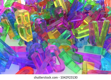 Alphabet, letter of ABC. Good for web page, wallpaper, graphic design, catalog, texture or background. Colorful transparent plastic or glass 3D rendering. Education, caption, title & pile.