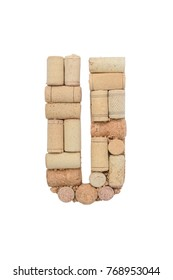 Alphabet letter U from wine corks isolated on white background