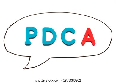 Alphabet letter with word PDCA (business abbreviation of plan do check act) in black line hand drawing as bubble speech on white board background