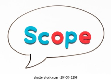 Alphabet letter with word scope in black line hand drawing as bubble speech on white board background