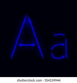 Alphabet letters of blue lights on dark background