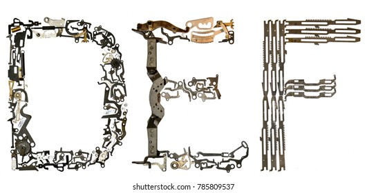 "alphabet letters ""D, E, F"" assembled from metallic parts, isolated on white"