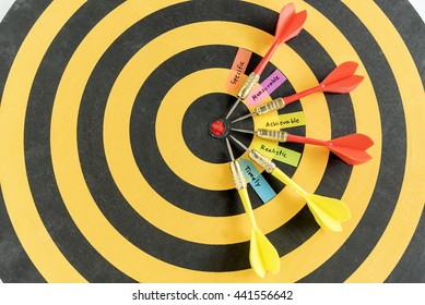 Alphabet letters hand writing words smart goals specific measurable achievable realistic timely with five target arrow on dartboard