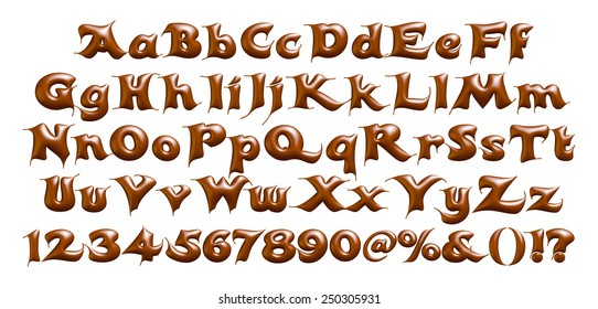 Alphabet letters, numbers and symbols made of chocolate syrup on isolated white background.
