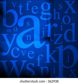 Alphabet letters on blue grunge background.