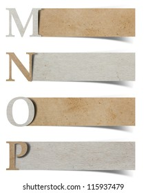 alphabet letters recycled paper craft stick on white background ( m n o p )