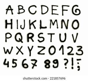 Alphabet letters. Spray paint abc