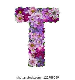 alphabet made of flower  letter t