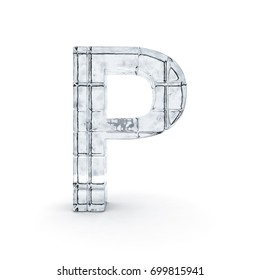 Alphabet made out of ice. 3D rendering