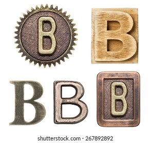 Alphabet made of wood and metal. Letter B