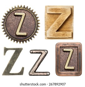 Alphabet made of wood and metal. Letter Z