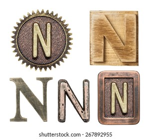 Alphabet made of wood and metal. Letter N