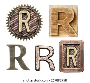 Alphabet made of wood and metal. Letter R