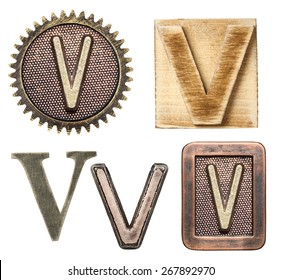 Alphabet made of wood and metal. Letter V