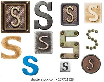 Alphabet made of wood, metal, plasticine. Letter S