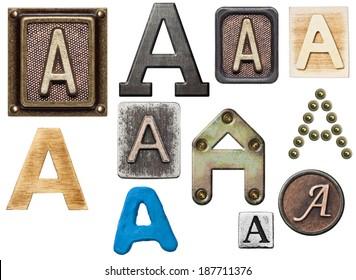 Alphabet made of wood, metal, plasticine. Letter A