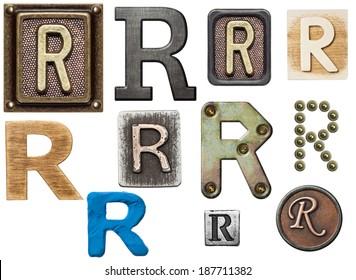 Alphabet made of wood, metal, plasticine. Letter R