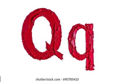 Alphabet. Oil paint.Letter Q .white background.