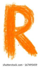 Alphabet pastel on white background