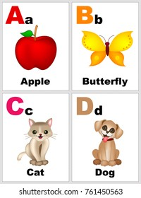 Alphabet printable flashcards collection with letter A B C D