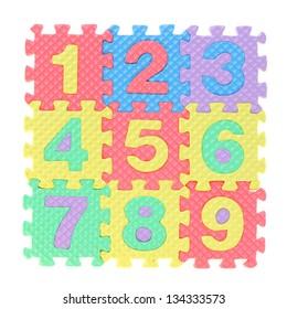 Alphabet puzzle on white background
