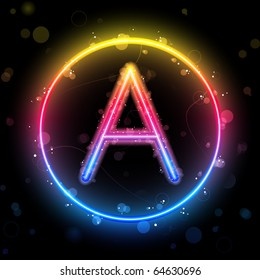 Alphabet Rainbow Lights Neon in Circle Button