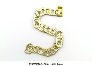 Alphabet  of S stack from  ring pull aluminum of cans on white background