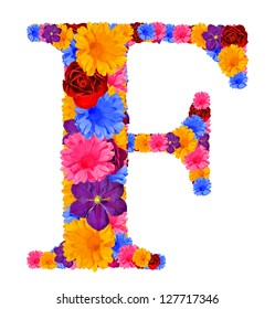 Alphabet  from spring  flowers. Letter F